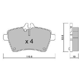 Brake Pad Set, disc brake Width: 116,6mm, Thickness: 19mm with OEM Number 1694201320