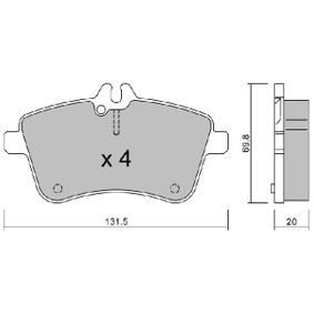 Brake Pad Set, disc brake Width: 131,5mm, Thickness: 20mm with OEM Number A1694200120