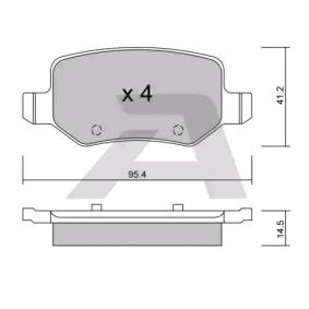 Bremsbelagsatz, Scheibenbremse Breite: 95,4mm, Dicke/Stärke: 14,5mm mit OEM-Nummer A 169 420 1720