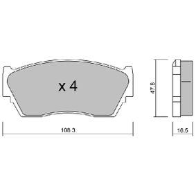 Bremsbelagsatz, Scheibenbremse Breite: 108,3mm, Höhe: 47,8mm, Dicke/Stärke: 16,5mm mit OEM-Nummer 41060-62C90