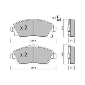 Bremsbelagsatz, Scheibenbremse Breite 1: 131,4mm, Breite 2: 131,4mm, Höhe 1: 51,5mm, Höhe 2: 55,6mm, Dicke/Stärke 1: 17mm, Dicke/Stärke 2: 17mm mit OEM-Nummer 1605 092
