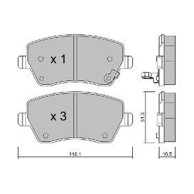 Bremsbelagsatz, Scheibenbremse Breite: 116,1mm, Dicke/Stärke: 16,5mm mit OEM-Nummer 93 192 962