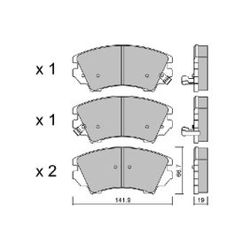 Brake Pad Set, disc brake Width: 141,9mm, Thickness: 19mm with OEM Number 22 959 104