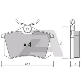 Bremsbelagsatz, Scheibenbremse Breite: 87,2mm, Höhe: 53,1mm, Dicke/Stärke: 15mm mit OEM-Nummer 1H0698451H
