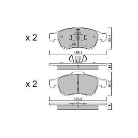 Bremsbelagsatz, Scheibenbremse Breite 1: 155,1mm, Breite 2: 155,2mm, Höhe 1: 59,4mm, Höhe 2: 64,7mm, Dicke/Stärke 1: 18mm, Dicke/Stärke 2: 18mm mit OEM-Nummer 41060-5961R
