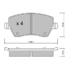 Bremsbelagsatz, Scheibenbremse Breite: 116,1mm, Dicke/Stärke: 17,5mm mit OEM-Nummer 4106 0AX 625
