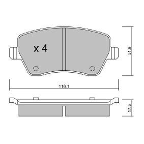 Bremsbelagsatz, Scheibenbremse Breite: 116,1mm, Dicke/Stärke: 17,5mm mit OEM-Nummer 410 608 48 1R