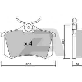 Bremsbelagsatz, Scheibenbremse Breite: 87,2mm, Höhe: 53,1mm, Dicke/Stärke: 16mm mit OEM-Nummer 8E0698451L