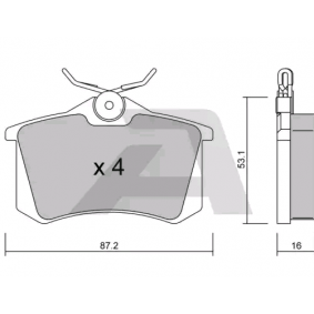 Jogo de pastilhas para travão de disco Largura: 87,2mm, Espessura: 16mm com códigos OEM 7701208 213