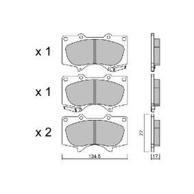 Bremsbelagsatz, Scheibenbremse Breite: 134,5mm, Höhe: 77mm, Dicke/Stärke: 17mm mit OEM-Nummer 04465-35290