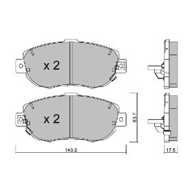Bremsbelagsatz, Scheibenbremse Breite: 143,9mm, Höhe: 63,7mm, Dicke/Stärke: 17,5mm mit OEM-Nummer 04491 30341
