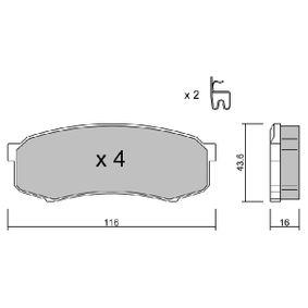 AISIN  BPTO-2902 Bremsbelagsatz, Scheibenbremse Breite: 116mm, Höhe: 43,6mm, Dicke/Stärke: 16mm