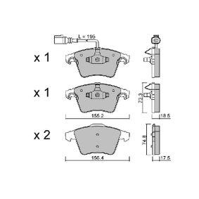 Bremsbelagsatz, Scheibenbremse Breite 1: 155,2mm, Breite 2: 156,4mm, Höhe 1: 73,3mm, Höhe 2: 74,8mm, Dicke/Stärke 1: 18,5mm, Dicke/Stärke 2: 17,5mm mit OEM-Nummer 7H0-698-151-A