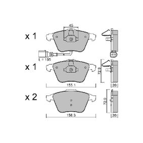 Комплект спирачно феродо, дискови спирачки ширина 1: 155,1мм, ширина 2: 156,3мм, височина 1: 72,9мм, височина 2: 72,9мм, дебелина 1: 20мм, дебелина 2: 20мм с ОЕМ-номер 23912