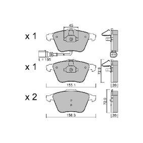 Bremsbelagsatz, Scheibenbremse Breite 1: 155,1mm, Breite 2: 156,3mm, Höhe 2: 72,9mm, Dicke/Stärke 2: 20mm mit OEM-Nummer 8J0 698 151 A