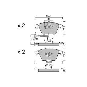Bremsbelagsatz, Scheibenbremse Breite 1: 155,1mm, Breite 2: 156,3mm, Höhe 2: 72,9mm, Dicke/Stärke 2: 20mm mit OEM-Nummer 8E0698151L