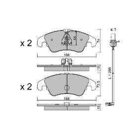 Bremsbelagsatz, Scheibenbremse Breite 2: 188mm, Höhe 1: 74mm, Höhe 2: 73,5mm, Dicke/Stärke 2: 19mm mit OEM-Nummer 8K0 698 151 H