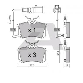 Bremsbelagsatz, Scheibenbremse Breite: 87,2mm, Höhe: 53,1mm, Dicke/Stärke: 17mm mit OEM-Nummer 6Q0698451