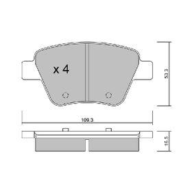 Bremsbelagsatz, Scheibenbremse Breite: 109,3mm, Dicke/Stärke: 16,5mm mit OEM-Nummer 5K0 698 451A
