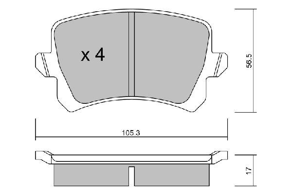 AISIN  BPVW-2007 Bremsbelagsatz, Scheibenbremse Breite: 105,3mm, Höhe: 56,5mm, Dicke/Stärke: 17mm