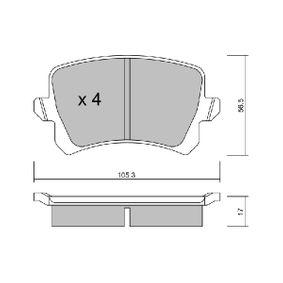 Bremsbelagsatz, Scheibenbremse Breite: 105,3mm, Höhe: 56,5mm, Dicke/Stärke: 17mm mit OEM-Nummer 3C0698451B