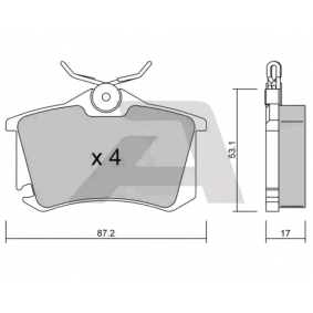 Комплект спирачно феродо, дискови спирачки BPVW-2008 Golf 5 (1K1) 1.9 TDI Г.П. 2006
