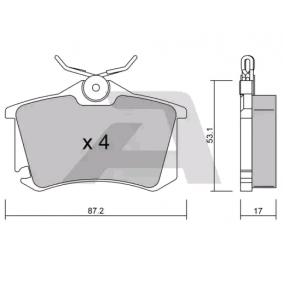 Bremsbelagsatz, Scheibenbremse Breite: 87,2mm, Höhe: 53,1mm, Dicke/Stärke: 17mm mit OEM-Nummer 1K0 698 451A