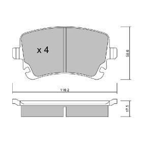 Bremsbelagsatz, Scheibenbremse Breite: 116,2mm, Höhe: 58,6mm, Dicke/Stärke: 17,5mm mit OEM-Nummer 4B3698451A