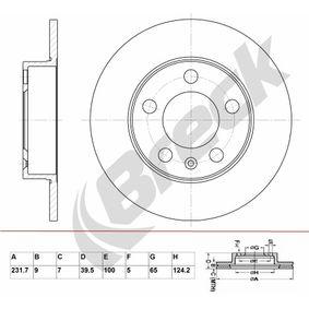 Bremsscheibe Bremsscheibendicke: 9mm, Lochanzahl: 5, Ø: 231.7mm mit OEM-Nummer 1J0 615 601 C