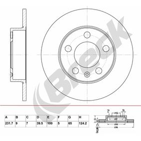 Bremsscheibe Bremsscheibendicke: 9,00mm, Lochanzahl: 5, Ø: 231,700mm mit OEM-Nummer 1J0 615 601