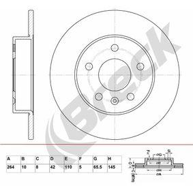 Bremsscheibe Bremsscheibendicke: 10,00mm, Lochanzahl: 5, Ø: 264,000mm mit OEM-Nummer 569109