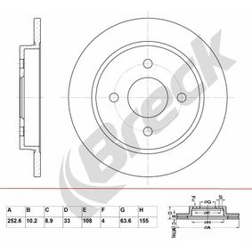 Brake Disc Brake Disc Thickness: 10,20mm, Num. of holes: 4, Ø: 252,600mm, Ø: 252,600mm with OEM Number 95GB2A315B1C