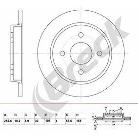 Brake Disc Brake Disc Thickness: 10,20mm, Num. of holes: 4, Ø: 252,600mm, Ø: 252,600mm with OEM Number 1514237