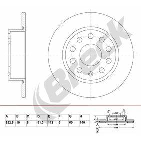 Bremsscheibe Bremsscheibendicke: 10,00mm, Lochanzahl: 9, Ø: 252,800mm mit OEM-Nummer 1K0 615 601 AB