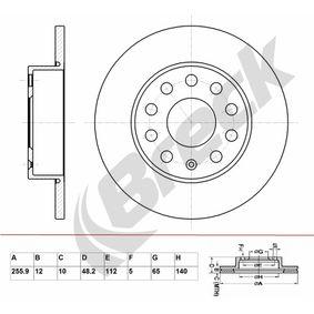 Bremsscheibe Bremsscheibendicke: 12,00mm, Lochanzahl: 9, Ø: 255,900mm mit OEM-Nummer 1K0 615 601AJ
