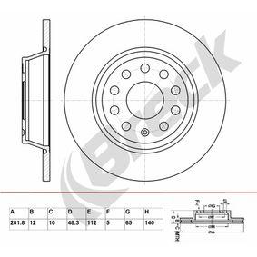 Bremsscheibe Bremsscheibendicke: 12mm, Lochanzahl: 9, Ø: 281.8mm mit OEM-Nummer 1K0615601M