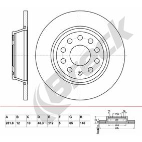 Brake Disc Brake Disc Thickness: 12,00mm, Num. of holes: 9, Ø: 281,800mm, Ø: 281,800mm with OEM Number 5Q0 615 601G