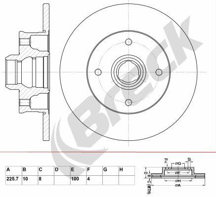 BRECK  BR 050 SA100 Bremsscheibe Bremsscheibendicke: 10,00mm, Lochanzahl: 4, Ø: 255,700mm, Ø: 255,700mm