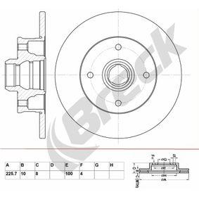 Bremsscheibe Bremsscheibendicke: 10mm, Lochanzahl: 4, Ø: 255.7mm mit OEM-Nummer 191.615.601B