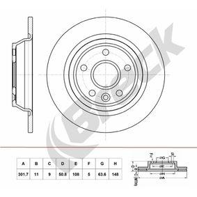 Bremsscheibe Bremsscheibendicke: 11,00mm, Lochanzahl: 5, Ø: 301,700mm, Ø: 301,700mm mit OEM-Nummer LR027123