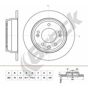Brake Disc Brake Disc Thickness: 10,00mm, Num. of holes: 5, Ø: 262,000mm, Ø: 262,000mm with OEM Number 584111H300