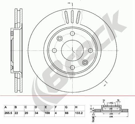 BRECK  BR 301 VA100 Bremsscheibe Bremsscheibendicke: 22,00mm, Lochanzahl: 4, Ø: 265,500mm