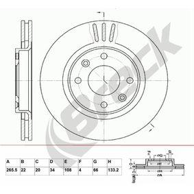 Bremsscheibe Bremsscheibendicke: 22,00mm, Lochanzahl: 4, Ø: 265,500mm mit OEM-Nummer 45410.00