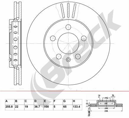 BRECK  BR 302 VA100 Bremsscheibe Bremsscheibendicke: 22,00mm, Lochanzahl: 5, Ø: 255,800mm, Ø: 255,800mm