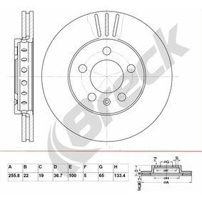 Bremsscheibe Bremsscheibendicke: 22,00mm, Lochanzahl: 5, Ø: 255,800mm mit OEM-Nummer 1JE615301