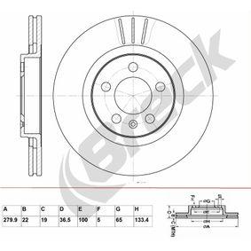 Bremsscheibe Bremsscheibendicke: 22,00mm, Lochanzahl: 5, Ø: 279,900mm, Ø: 279,900mm mit OEM-Nummer 1J0 615 301 M
