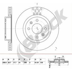 Bremsscheibe Bremsscheibendicke: 20,70mm, Lochanzahl: 4, Ø: 258,600mm, Ø: 258,600mm mit OEM-Nummer 7700 780 892