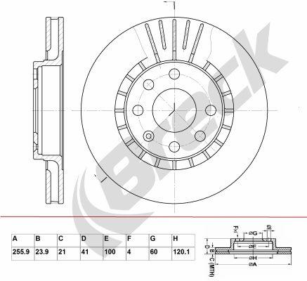 BRECK  BR 305 VA100 Bremsscheibe Bremsscheibendicke: 23,90mm, Lochanzahl: 6, Ø: 255,850mm, Ø: 255,850mm