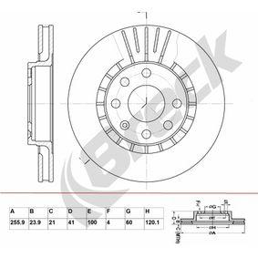 Bremsscheibe Bremsscheibendicke: 23,9mm, Lochanzahl: 6, Ø: 255,85mm mit OEM-Nummer 90250546