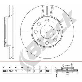 Bremsscheibe Bremsscheibendicke: 19,90mm, Lochanzahl: 6, Ø: 236,300mm, Ø: 236,300mm mit OEM-Nummer 90008006